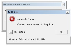 connect to printer error 0x00000a